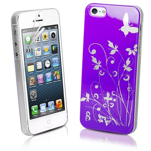 JAMMYLIZARD Cover - Custodia rigida VIOLA/ARGENTO con Fiori & Farfalle per IPHONE 5. Pellicola proteggi schermo in regalo!