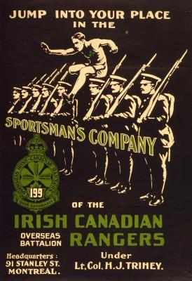 Irish Canadian Rangers Enlist War Propaganda Vintage Ad Poster Print - 13x19