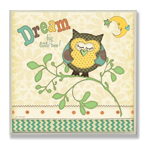 The Kids Room by Stupell Dream Big Little One with Owl Square Wall Plaque
