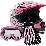 Youth Offroad Gear Combo Helmet Gloves Goggles DOT Motocross ATV Dirt Bike Spiderman Pink , Medium