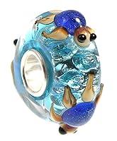 Blue Turtles on Aqua 3-D Glass Bead 925 Silver Single Core Charm Fits European Style Bracelets