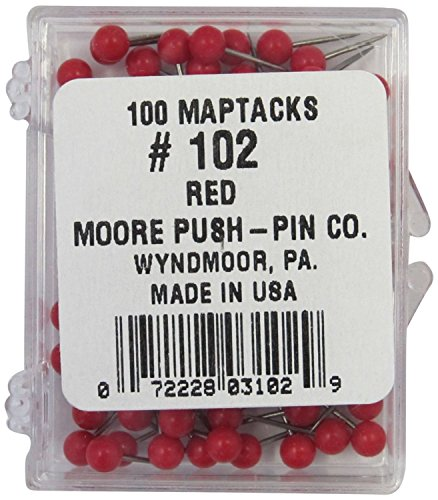 1/8 Inch Map Tacks - Red