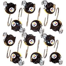 Pittsburgh Steelers Set 12 Bathroom Shower Curtain Hooks