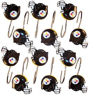 Now Pittsburgh STEELERS Set 12 Bathroom Shower Curtain Hooks ... on denver broncos bathroom set, new england patriots bathroom set, steelers shower set, black and yellow bathroom set, dallas cowboys bathroom set, atlanta falcons bathroom set, pittsburgh steelers bathroom decor, sf 49ers bathroom set, houston texans bathroom set, philadelphia eagles bathroom set, football bathroom set, indiana pacers bathroom set, chicago bears bathroom set, pittsburgh steelers bathroom stuff, pittsburgh pirates comforter sets, nfl bathroom set, san francisco 49ers bathroom set, florida gators bathroom set, minnesota vikings bathroom set, seattle seahawks bathroom set,