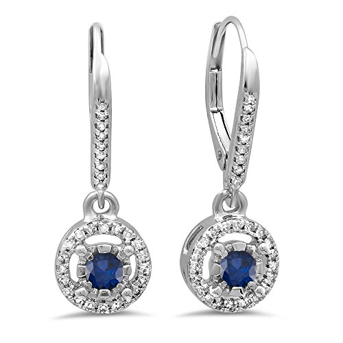 0.50 Carat (Ctw) 14K White Gold Blue Sapphire & White Diamond Cluster Halo Dangling Drop Earrings 1/2 Ct