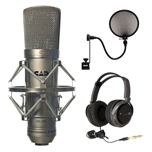Cad Audio Gxl2200 Cardioid Condenser Microphone With Full-Size Headphones And Cad Audio Microphone Pop Filter