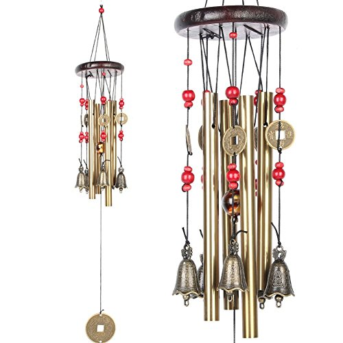 Chinese Traditional Amazing 4 Tubes 5 Bells Bronze Yard Garden Outdoor Living Wind Chimes 60cm