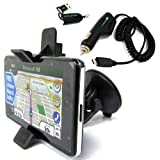 ChargerCity GPS Windshield Suction Cup Mount w/ Ball Socket Suction Cup Mount Bracket unit holster & Power Cable Car Charger for Garmin nuvi 3450 3490 3750 3760 3790 T LMT LM GPS Navigator with Free ChargerCity OEM Micro SD Memory Card Reader & Manufactu