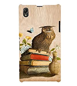PrintVisa Girly Owl And Butterfly Design 3D Hard Polycarbonate Designer Back Case Cover for Sony Xperia Z1