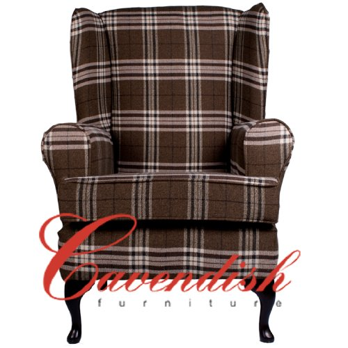 "Extra Wide (21"" Seat width) Luxury Orthopedic High Seat Chairs in 21"" or 19"" Seat Heights. Balmoral Brown Tartan. (21"" Seat Height with Footstool)"