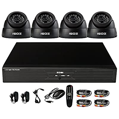 ZOSI 8CH CCTV System Kit 960H Recording Home Security DVR 4PCS 800TVL 24IR IP44 Analog Day&Night Color CMOS Cameras 65ft Night Vision Surveillance Smart Security Kit 500GB HDD