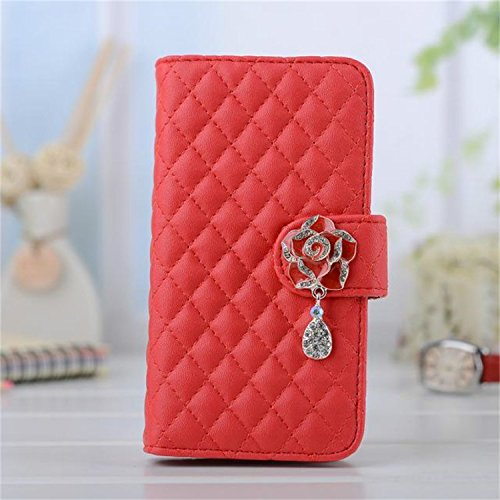 Borch Luxury Rhombus Design Camellia Pendant Purse Fashion Wallet Folio Leather Case Cover For Samsung Galaxy S3 I9300 (Red) front-46874