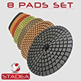 "STADEA Premium Grade Wet 4"" Diamond Polishing Pads 8 Pcs Set For GRANITE MARBLE STONE Polish"