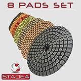 """STADEA Premium Grade Wet 4"""" Diamond Polishing Pads 8 Pcs Set For GRANITE MARBLE STONE Polish"""