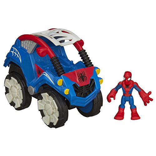 Playskool Heroes Marvel Super Hero Adventures Flip-Out Stunt Buggy Vehicle with Spider-Man Figure - 1