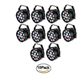 Lixada 10 Packs DMX-512 RGBW LED Stage PAR Light Strobe Professional 8 Channel Party Disco DJ Show 15W AC 100-240V
