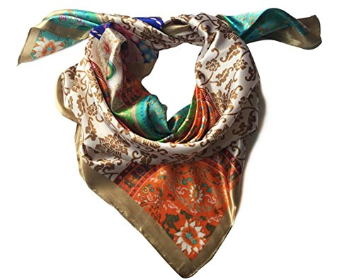 Xqmdress-Womens-Square-Multicolor-Pattern-Chinese-Silk-Scarf-Floral-Multicolor