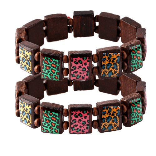 Wood Bracelet Animal Print on Brown Wood Elastic - Set of 2