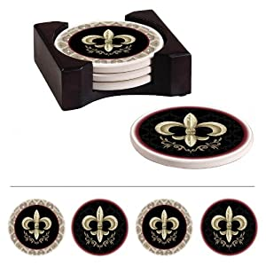 Fleur De Lis Absorbent Coaster With Caddy