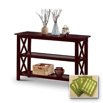 New Cappuccino / Espresso Finish Wooden Sofa Table - Includes Free Coasters!