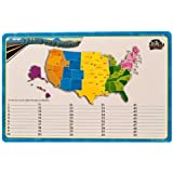 Dry Erase Lap Board United States Map & Capitals, Double Sided 11x17 Inches (Colors Vary) Great for Schools and Students