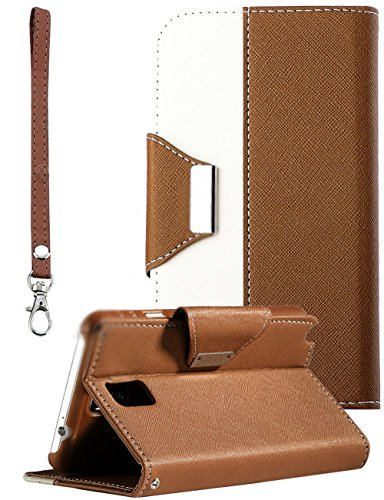 myLife Chocolate Brown and Bright White {Luxury Fashion Design} Faux Leather (Card, Cash and ID Holder + Magnetic Closing) Slim Wallet for Galaxy Note 3 Smartphone by Samsung (External Textured Synthetic Leather with Magnetic Clip + Internal Secure Snap In Closure Hard Rubberized Bumper Holder)