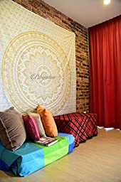 traditional mafia Indian Beautiful Ombre mandala Tapestry, Golden, Twin