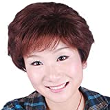 Hsg Elegant Real Human Hair Wigs For Mother Short Curly Wigs Dark Brown Lady Soft Full Wigs Zf007