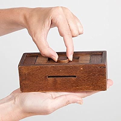 Bits and Pieces - Stash Your Cash Secret Puzzle Box Brainteaser - Wooden Secret Compartment Brain Game for Adults from Melville Direct