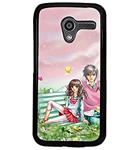 Printvisa Romantic Couple Surrounded By Flowers Back Case Cover for Motorola Moto X XT1058::Motorola Moto X (1st Gen)