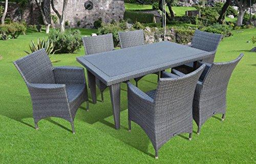 """7-teilige Luxus Aluminium Polyrattan Gartenmöbelgruppe """"Bukatchi #ZV"""" in Silverline Diningsessel und Spraystonetisch günstig online kaufen"""