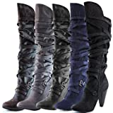 Fahrenheit Womens Luga-05 Velvet Over Knee High Heel Boots