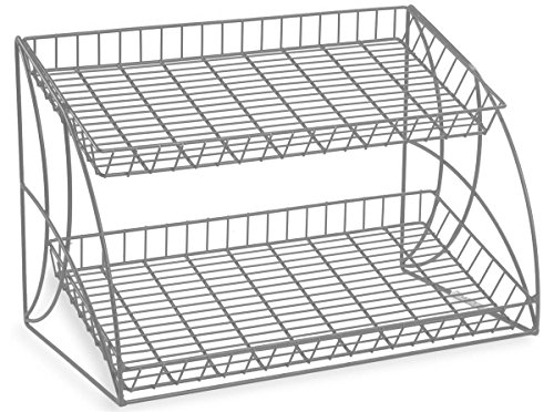 Countertop Steel Wire Rack With 2 Shelves, 25-3/4 x 18 x 16-1/2-Inch, Tiered, Open Shelf Design, Slanted, Space Saving (Countertop Wire Rack compare prices)
