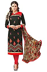 Jiya Presents Embroidered Chanderi Dress Material (Black,Red)