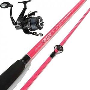 Jarvis walker vixen pink fishing combo rod and reel plus for Pink fishing reel