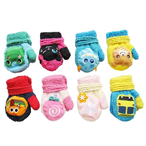 DZT1968 1 Pair Winter Baby Cute Cartoon Gloves Mittens With String (0-12 Months) (Pink)