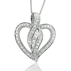 14k White Gold Heart Diamond Pendant Necklace (GH, I1-I2, 0.35 carat)