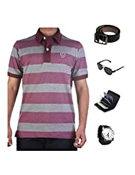 Garushi Multicolor T-Shirt With Watch Belt Sunglasses Cardholder - B00YMKZBRQ
