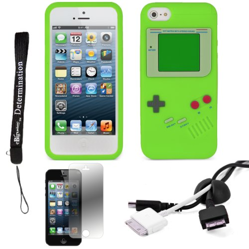 Green Game Boy Durable Silicone Protective Skin Case For Apple Iphone 5 Ios (6) Smart Phone + Black Cord Organizer + Apple Iphone 5 Screen Protector + An Ebigvalue Tm Determination Hand Strap