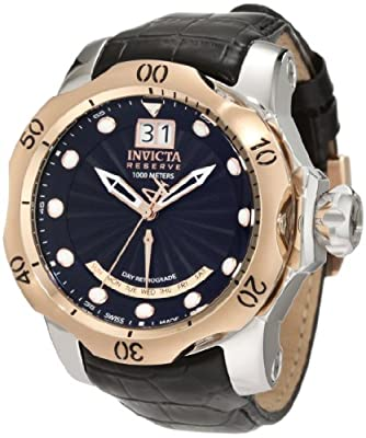 Invicta Men's 1593 Reserve Retrograde Black Dial Black Leather Watch from Invicta