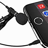 Best Lavalier Lapel Clip-on Omnidirectional Condenser Microphone for Apple Iphone, Ipad, Ipod Touch, Samsung Android and Windows Smartphones - 5 Foot Cable - Satisfaction Guaranteed