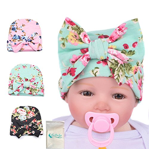 Gellwhu Pink White Blue Newborn Girl Nursery Beanie Hospital Hat With Large Bow (3 Colors Pack A)