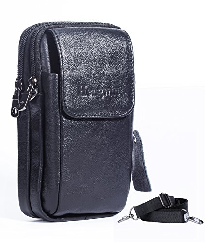 Genuine Leather Vertical Men Cellphone Belt Loop Holster Case Belt Waist Bag Mini Travel Messager Pouch Crossbody Pack Purse Wallet with a Clip iPhone 6/6S Plus Note 5 S6 S7 Edge+Hwin Keychain-Black (Samsung S5 Mini Case For Men compare prices)