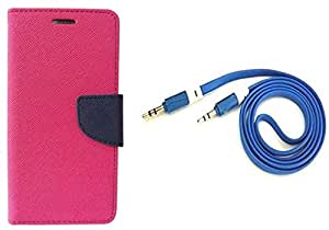 Novo Style Wallet Case Cover For Apple iPhone 6 Pink + 3 feet Slim 3.5mm Music Record Stereo Audio Auxiliary AUX Cable Cord