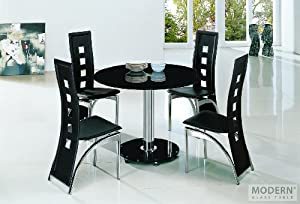 galaxy black glass dining table and 4 black chairs collections