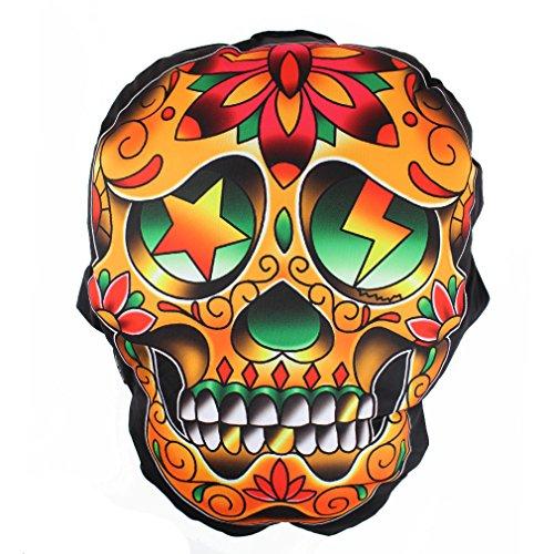 Liquor Brand cuscino teschio messicano Mexican Skull Tattoo-Cuscino decorativo Dia de los Muertos