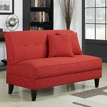 Portfolio Engle Sunset Red Linen Armless Loveseat Settee Modern Sofa