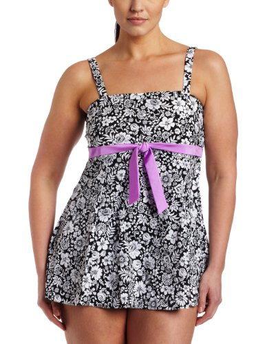 It Figures! Womens Dream Garden Tie Front Bandeau Swimdress