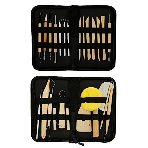 US Art Supply 26-Piece Pottery & Clay Sculpting Tool Sets with Canvas Cases (Pottery Tool Set compare prices)