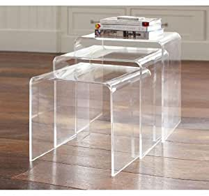 mhstar lot de 3 tables gigognes en plexiglas transparent cuisine maison. Black Bedroom Furniture Sets. Home Design Ideas